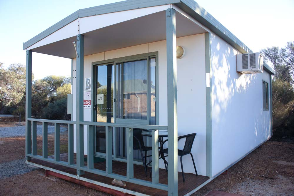 Outside view of a Beacon Caravan Park cabin