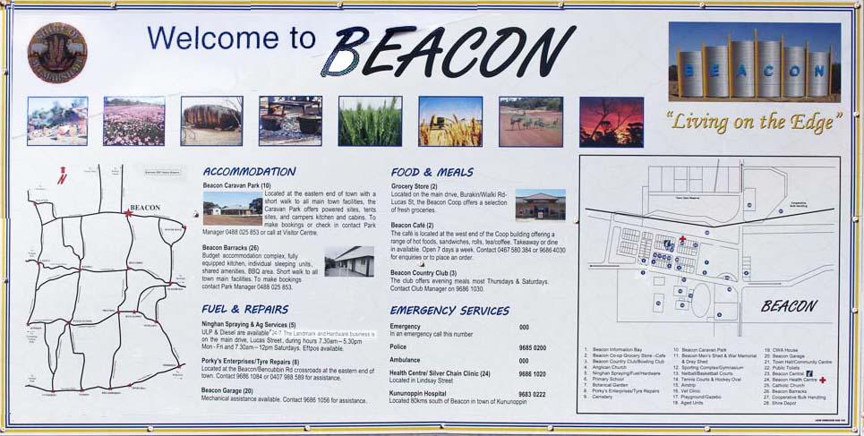 Welcome to Beacon sign in caravan park information bay