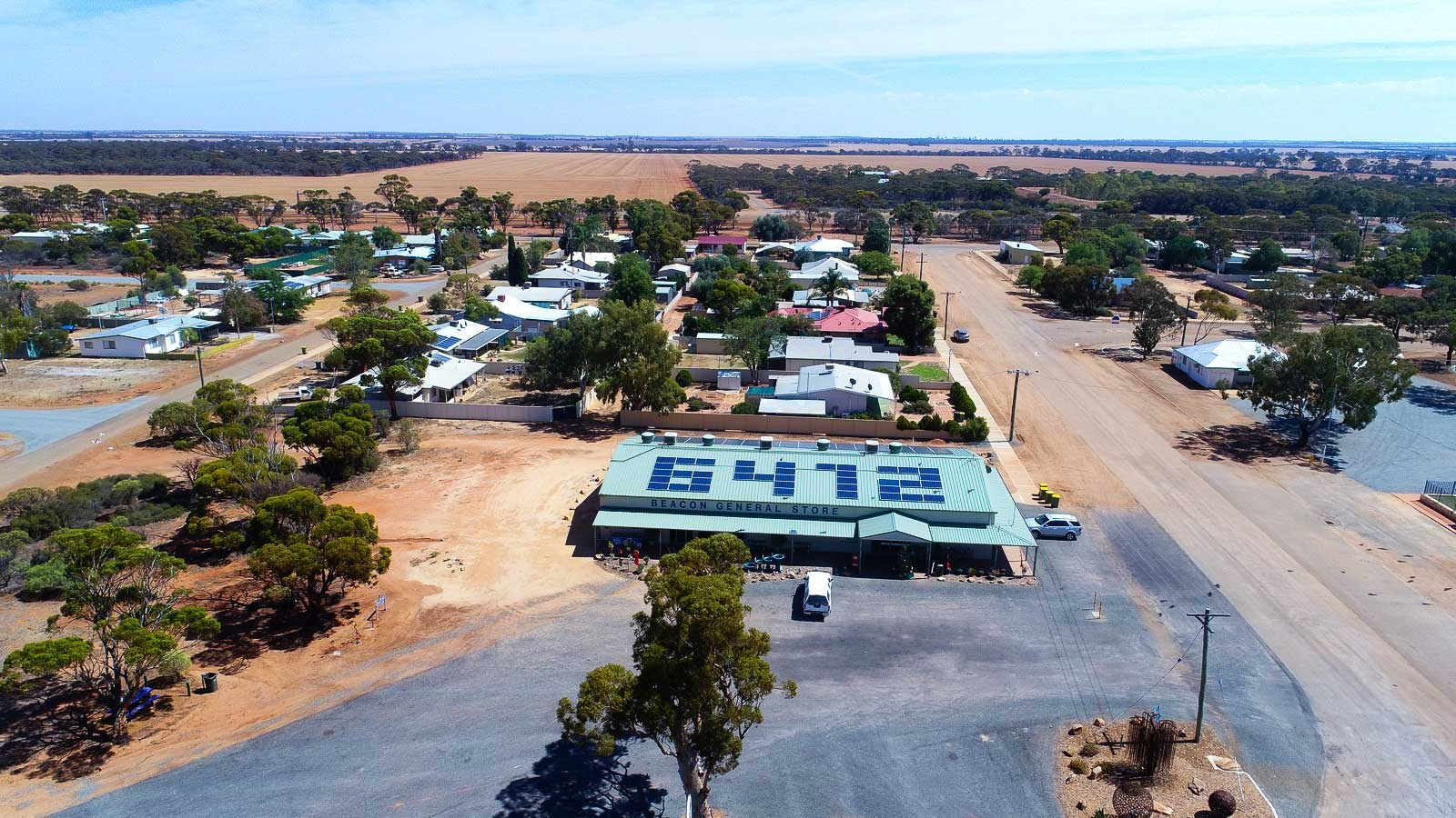 Solar Trail Co-op general store aerial view from drone showing solar panels arranged in postcode 6472 on roof