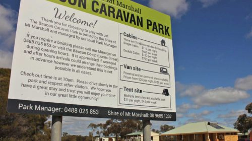 Beacon Caravan Park sign