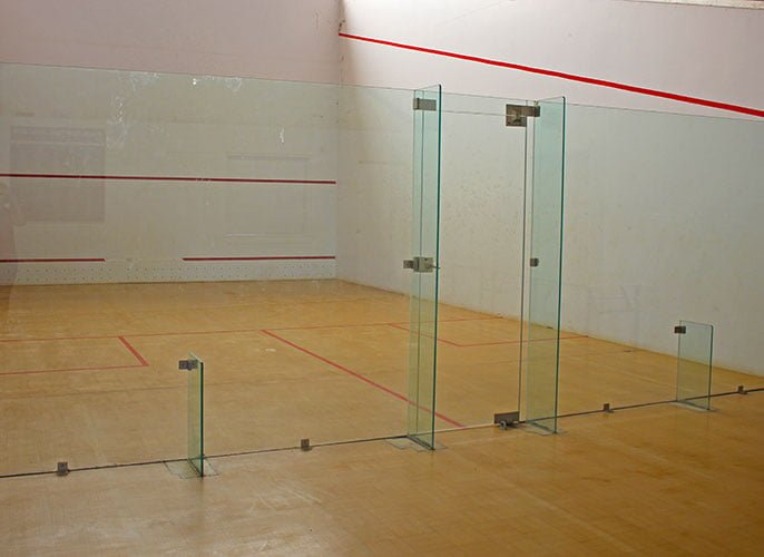 a view of glass screened Squash Court in Beacon Sporting Complex
