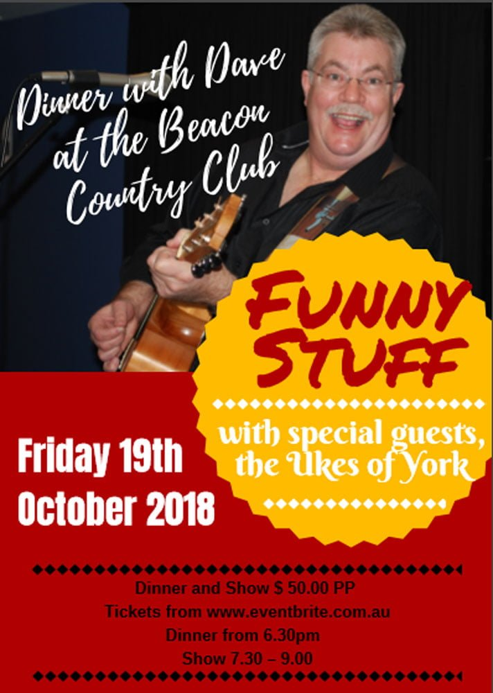 Promotional poster for Dave Prior at the Beacon Country Club 2018