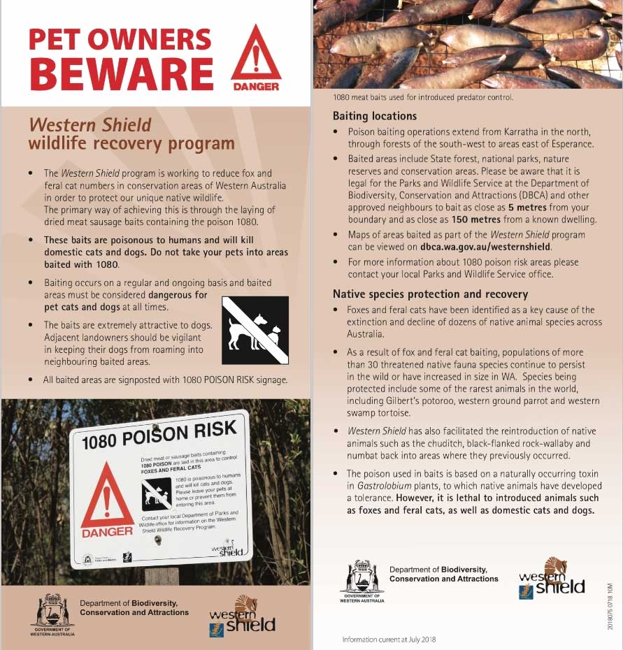 Brochure for Baiting Program from Department of Biodiversity, Conservation and Attractionsrs_Beware