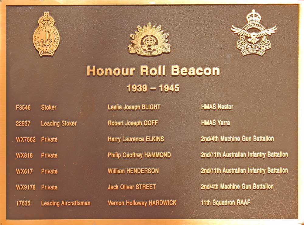 ANZAC Honor Roll plaque with listing of Beacon's served soldiers from 1939 to 1945